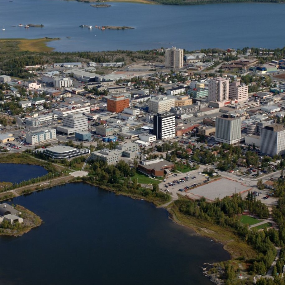 Aerial shot of the City of Yellowknife